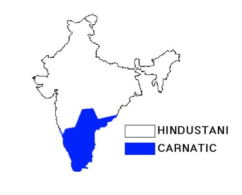 Map of Hindustani and Carnatric sangeet